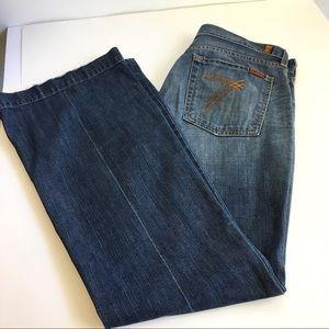 7 For All Mankind Dojo Jeans Flare Trouser Pleat